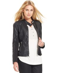 Calvin Klein Jeans Faux Leather Mixed Media Knit Moto Jacket - Lyst