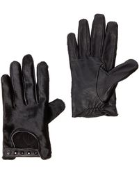 Maison Scotch Leather Pony Hair Gloves - Lyst