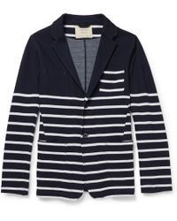 Wooster + Lardini - Striped Knitted-Cotton Cardigan - Lyst