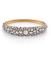 Fred Leighton Contemporary Rose-Cut Diamond Bombe Hinged Bangle Bracelet - Pink