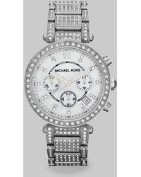 Michael Kors Parker Round Silvertone Stainless Steel Chronograph Bracelet Watch - Lyst