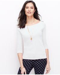 Ann Taylor Petite Shoulder Button Tee - Lyst