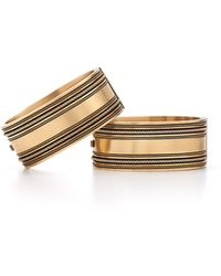 Fred Leighton Estate Pair Of Victorian Yellow Gold Wide Bangle Bracelets
