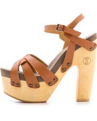 Flogg - Rainbow Platform Clog Sandals Luggage - Lyst