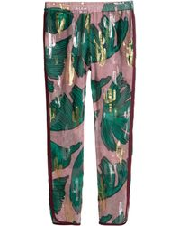 H&M Patterned Silk Trousers - Lyst