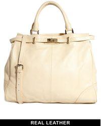 Ri2k Walcott Leather Ivory Handbag - Natural