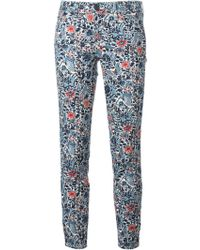 Tory Burch Flower Printed Slim Fit Trousers - Lyst