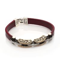 King Baby Studio   Burgundy Leather and Silver Alloy Link Bracelet   Lyst