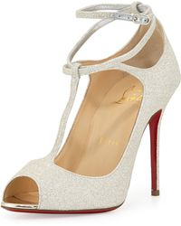 Christian Louboutin Talitha Glitter Ankle-Wrap Red Sole Sandal - Lyst