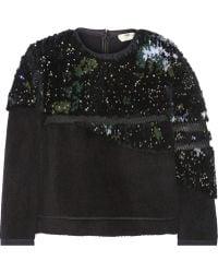 Fendi Meshtrimmed Embellished Faux Fur and Felt Sweatshirt - Lyst