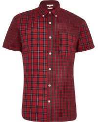 River Island Red Mixed Check Short Sleeve Shirt - Lyst