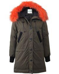 KENZO Puffer Coat With Fur Collar - Natural