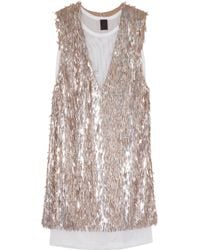 Vera Wang Sequined Stretchmesh Dress - Lyst