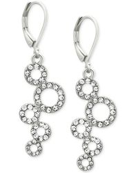 T Tahari | Silver-tone Pavé Squiggle Circle Drop Earrings | Lyst
