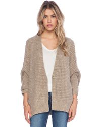 Free People Beige Breeze Cardigan - Lyst