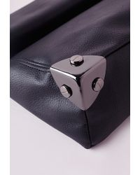 Missguided Oversized Roll Top Clutch Bag Black