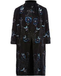 Needle & Thread - Black Embellished Funnel Neck Coat - Lyst