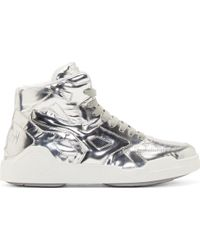 Marcelo Burlon Silver Leather High_Top Sneakers - Lyst