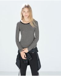 Zara Rib Tee Shirt - Lyst