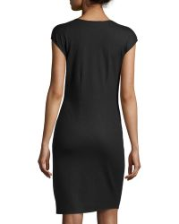 Halston Fauxwrap Wool Dress - Lyst