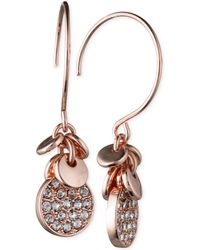 Anne Klein - Silver-tone Crystal Disc Drop Earrings - Lyst