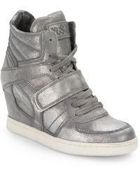 Ash Cool Metallic Leather Wedge Sneakers - Lyst