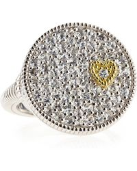 Judith Ripka Romance White Sapphire Heart Disc Ring 7 - Lyst