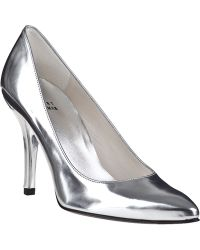 Stuart Weitzman Power Pump Silver Leather - Lyst