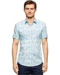 Calvin Klein Cluster-Print Slim-Fit Shirt blue - Lyst