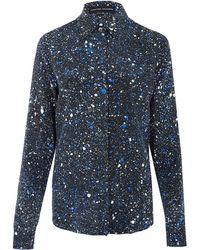 Jonathan Saunders Navy Alana Paint Splash Silk Shirt - Lyst