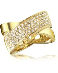 Michael Kors | Golden Brass And Crystal Pave Women's Ring | Lyst