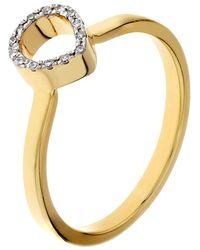 Monica Vinader Diva Mini Lotus Open Diamond Ring - Metallic