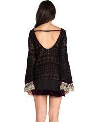 Gypsy Junkies Mimi Mini Lace Dress W Bell Sleeve in Black