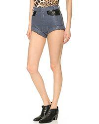 Rodarte Laminated Snake Denim Shorts Blue - Lyst
