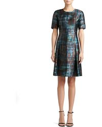 St. John Painterly Plaid Print Mikado Short Sleeve Dress with Flared Skirt - Lyst
