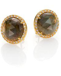 Mija - Labradorite & White Sapphire Button Earrings - Lyst