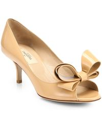 Valentino Couture Patent Leather Bow Pumps - Lyst