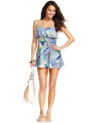 Kenneth Cole Reaction Ruffle Drawstring Swim Dress Cover Up - Blue