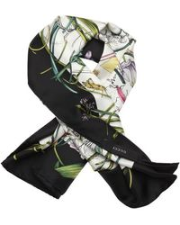 Gucci Black And Green 'Flora Infinity' Printed Silk Scarf - Lyst