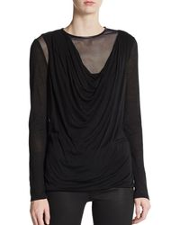 Yigal Azrouel Draped Leather Trimmed Jersey Top - Lyst