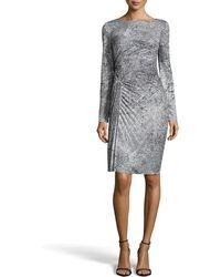 Halston Heritage Long-sleeve Pleated Print Dress - Lyst