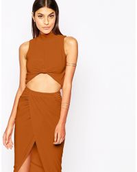 Club L Knot Front Crop Top With High Neck