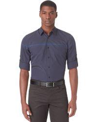 Calvin Klein Slim Fit Chambray Engineered Stripe Sport Shirt - Lyst