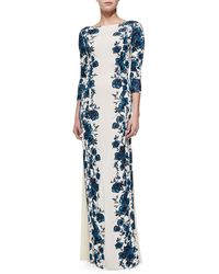 Tory Burch Stacy Floral Print Gown Sandshell Geneva Xlarge - Lyst