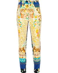 Gianni Versace Vintage Printed Velvet Jeans yellow - Lyst