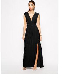 Love Plunge Neck Maxi Dress With Wrap Belt - Black