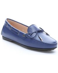 Tod's Cobalt Leather Moc Toe Driving Loafers - Lyst