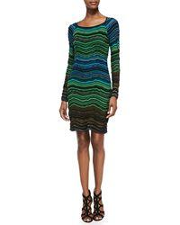 M Missoni Long-sleeve Fancy Ripple-knit Dress - Lyst