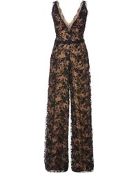 Marchesa Embroidered Chantilly Lace Jumpsuit - Lyst