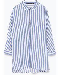 Zara Striped Shirt With Kimono Sleeves - Lyst